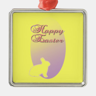 Happy Easter Pink and Yellow Easter Bunny Metal Ornament