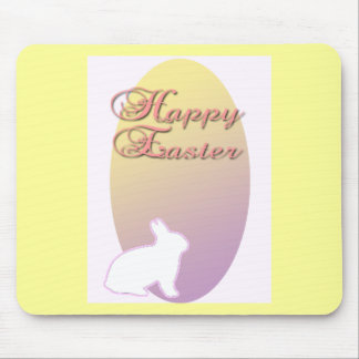 Happy Easter Pink and Yellow Easter Bunny Mouse Pad