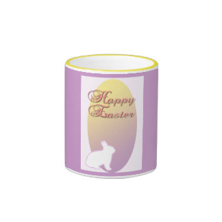 Happy Easter Pink and Yellow Easter Bunny Coffee Mugs
