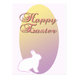 Happy Easter Pink and Yellow Easter Bunny Post Card