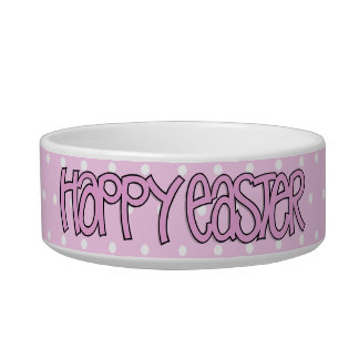 Happy Easter pink  Bowl Pet Food Bowl