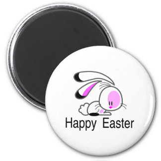 Happy Easter Pink Bunny 2 Inch Round Magnet
