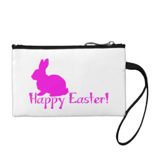 Happy Easter Pink Bunny Change Purse