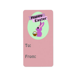Happy Easter! Pink Bunny Label