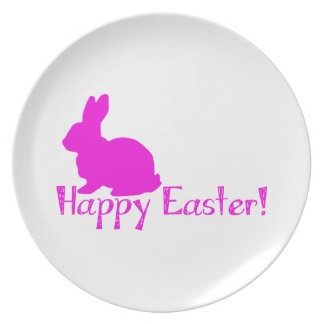 Happy Easter Pink Bunny Dinner Plates