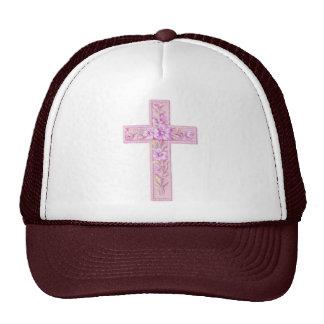 Happy Easter Pink Cross with Lilies Trucker Hat