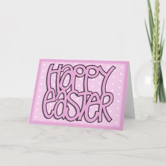 Happy Easter pink dot Card card