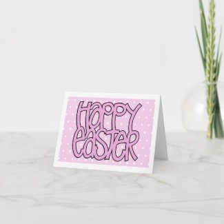 Happy Easter pink dot Note Card card