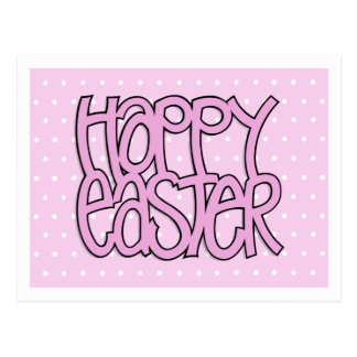 Happy Easter pink dot Postcard