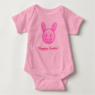 Happy Easter Pink Easter Bunny Baby Bodysuit