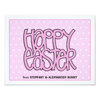 Happy Easter pink flat Easter Note Card