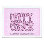 "Happy Easter pink flat Easter Note Card 4.25"" X 5.5"" Invitation Card"