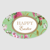 Happy Easter Pink Flowers Oval Sticker