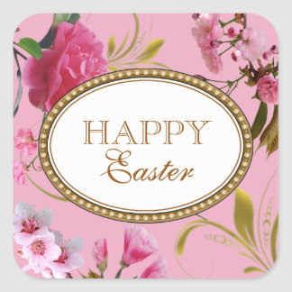 Happy Easter Pink Flowers Square Sticker