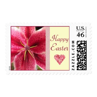Happy Easter Pink Lily Postage Stamps
