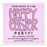 "Happy Easter pink Party Invitation 5.25"" Square Invitation Card"
