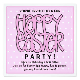 Happy Easter pink Party Invitation