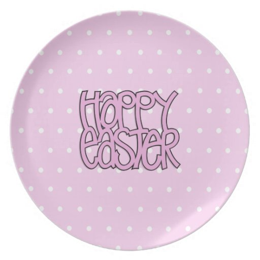 Happy Easter pink Plate