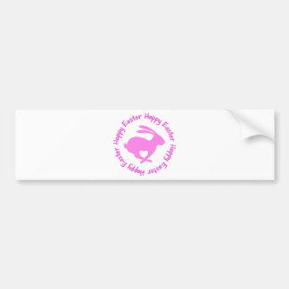 Happy Easter pink rabbit with heart Bumper Sticker
