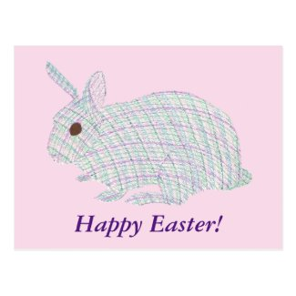 Happy Easter Plaid Bunny Rabbit Postcards