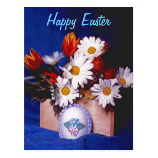 Happy Easter PostCard~Daisies & Tulips