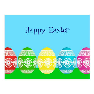 Happy Easter powder blue cute egg design Post Cards