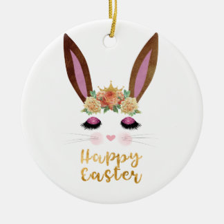 Happy Easter Princess Bunny Face Ceramic Ornament
