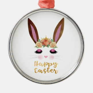 Happy Easter Princess Bunny Face Metal Ornament