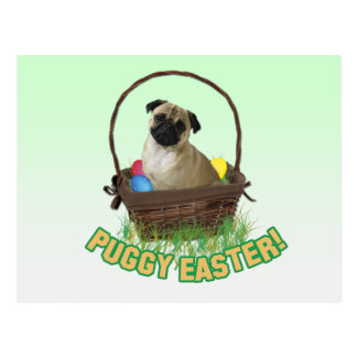 Happy Easter Pug Postcard