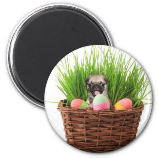 Happy Easter pug puppy 2 Inch Round Magnet