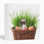 Happy Easter pug puppy Binder