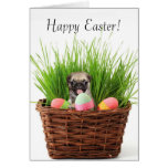 Happy Easter pug puppy greeting card