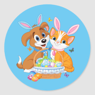 Happy Easter Puppy and Kitten Classic Round Sticker