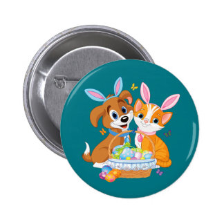 Happy Easter Puppy and Kitten Pinback Button