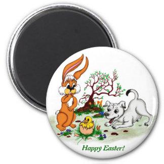 Happy Easter! Puppy, chicken, hare 2 Inch Round Magnet