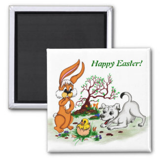 Happy Easter! Puppy, chicken, hare 2 Inch Square Magnet