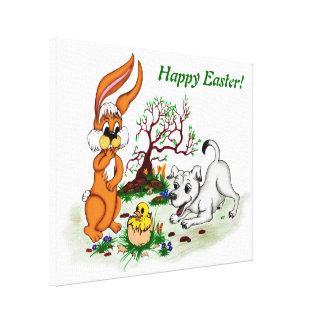 Happy Easter! Puppy, chicken, hare Canvas Print