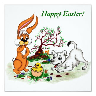 Happy Easter! Puppy, chicken, hare Card