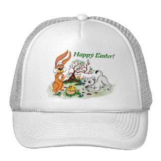 Happy Easter! Puppy, chicken, hare Trucker Hat