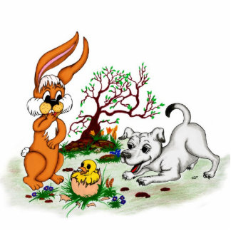 Happy Easter! Puppy, chicken, hare - magnet
