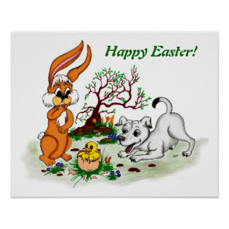 Happy Easter! Puppy, chicken, hare Poster