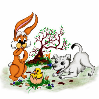 Happy Easter! Puppy, chicken, hare - sculpture
