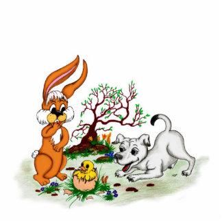 Happy Easter! Puppy, chicken, hare Statuette