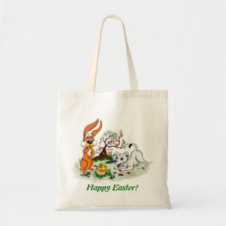 Happy Easter! Puppy, chicken, hare Tote Bag