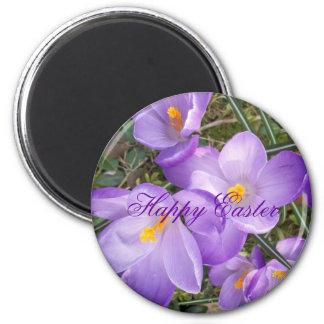 Happy Easter Purple Crocus Magnet