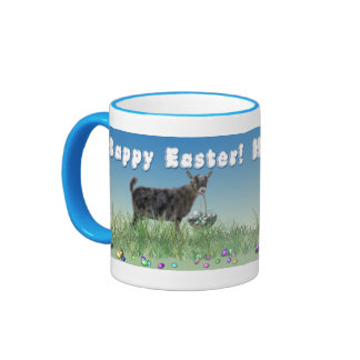 Happy Easter Pygmy Goat  with Easter Basket 2 Ringer Coffee Mug