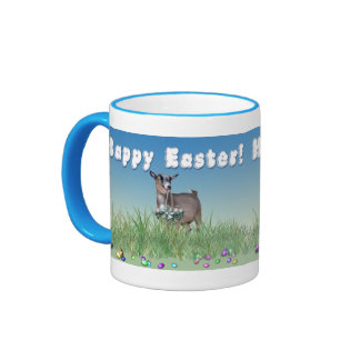 Happy Easter Pygmy Goat with Easter Basket Ringer Coffee Mug