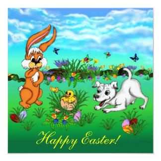 """Happy Easter! Rabbit, Chick and Puppy Invitación 5.25"""" X 5.25"""""""