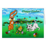 Happy Easter! Rabbit, Chick and Puppy Karte