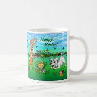 Happy Easter! Rabbit, Chick and Puppy Classic White Coffee Mug